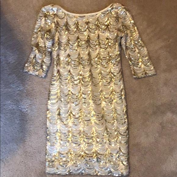 dac9e087dfa42 Crystal Doll Dresses & Skirts - Macy's juniors gold sequin dress party  wedding